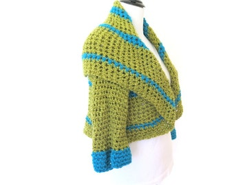 Green crochet shrug, chunky circle sweater with shawl collar, fine knit outerwear