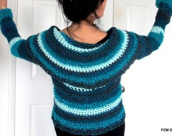 Blue circle shrug, large shawl collar sweater, crochet cardigan modern knitwear, outerwear