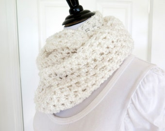 White crochet cowl, soft chunky infinity scarf, gift under 40