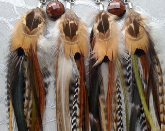 Long Brown Feather Earrings with Ornate findings, Charms -Natural  undyded Stripes, Cream, Gold, White, Black, Cut Resin Beads