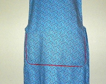 Extra Long Kitchen Cobbler Lined Apron Smock Red White and Blue Flowers Clothing Protector Cooking Cleaning Crafting