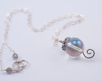 Garden Fairy Bubble Necklace (Sterling Silver, Natural AB Quartz)
