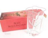 Boda Sweden Heart Glass Flower Vase by Bertil Vallien with Box
