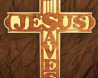 Large Jesus Saves Wood Cross - Custom Order