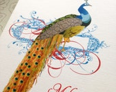Personalized Stationery, Peacock Cards - Set of 6