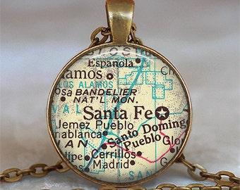Santa Fe map pendant, map jewelry, Sante Fe key chain, Santa Fe keychain, map necklace, Santa Fe pendant, Santa Fe necklace