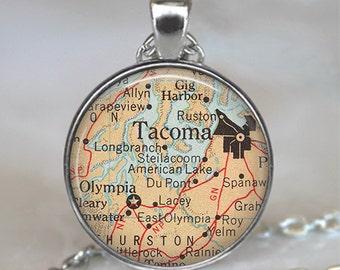 Tacoma map pendant, Tacoma pendant, Tacoma map necklace, map jewelry, Olympia map pendant, Tacoma keychain