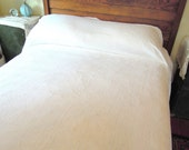 REDUCED.vintage chenille.blanket.bedding.for cutting.spring.summer weight.pure white.twin.tessiemay