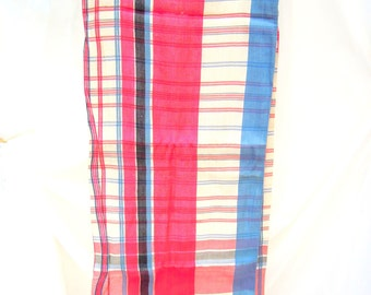 vintage tablecloth.woven linen.red.white.blue.stripes.holiday.farm kitchen.tessiemay
