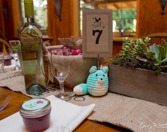 Wedding Table Decor, Rustic Wedding Crochet Table Number Holders