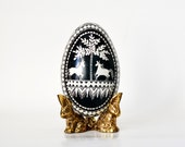 Goose egg, Black and White egg PYSANKA, Ukrainian Easter egg