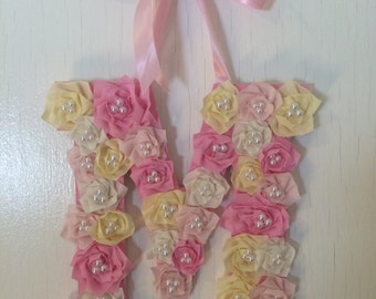 Handmade Fabric Flower Custom Nursery Wall Letter