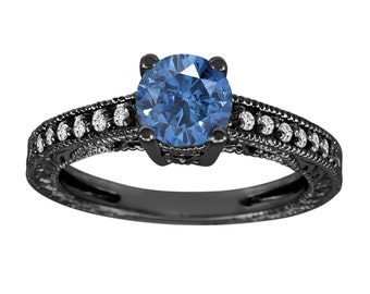 Fancy Blue & White Diamond Engagement Ring Vintage Style 14K Black Gold 1.00 Carat Antique Vintage Style Engraved handmade