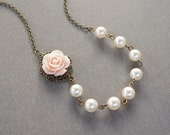 pale pink rose with Swarovski white pearls necklace. vintage bridal. wedding. bridal party.