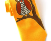 Owl Necktie. Yellow Tie. Owls. Birds. Funny Tie. Funky Gift for Him. Hand Painted Silk Tie.