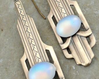 Vintage Earrings -Art Deco Earrings -  Opal Earrings - Brass Jewelry - Art Deco Earrings - October Birthstone Earrings - handmade jewelry