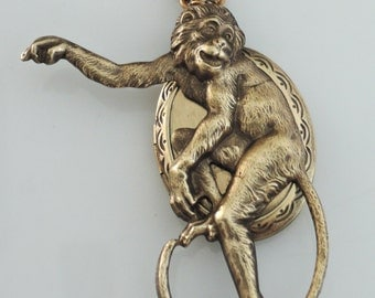 Locket Necklace - Monkey Necklace - Vintage Brass jewelry - handmade jewelry