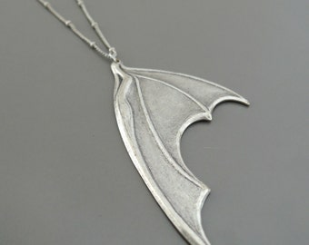 Silver Necklace - Bat Wing Necklace - Statement Necklace - handmade jewelry