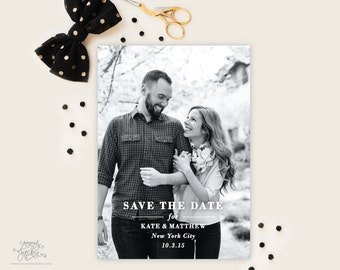 SAVE THE DATE - Simple Full Photo with Green Patterned Backer Save the Date Cards by Sincerely, Jackie