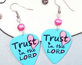 Inspirational Jewerly - Proverbs 3 - Bible Scripture Art Guitar Pick Earrings - Trust in the LORD