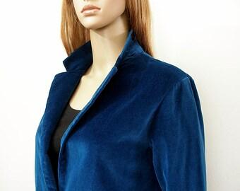 Vintage 1970s Jacket Bright Navy Velveteen Blazer / Small to Medium