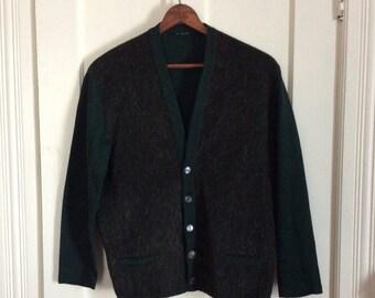 Vintage 1940's Mohair front Panel Mens Work Cardigan Sweater looks size Medium Fuzzy Dark Green high gauge knit