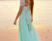 Mermaid's Song Mint with Seafoam Lace Straps-Octopus Infinity Convertible Wrap Gown- Bridesmaids, Wedding, maternity, Plus Size