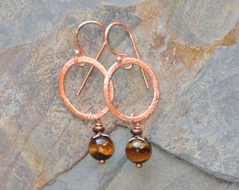 Copper Hoop Earrings, Tiger Eye Earrings, Natural Stone Earrings, Brown Earrings, Bohemian Earrings, Handmade Earring, Natural Stone Jewelry