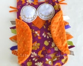 Woodland Animals Minky OWL Ribbon Tag Baby Blanket in Magenta and Orange Blankie with Linking Teething Ring Lovey Lovie Baby Gift