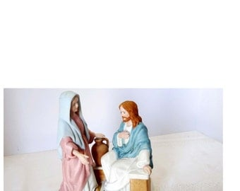 """By Homco """"The Greatest Story Ever Told"""" Living Water Mary and Joseph Porcelain Religious Figurine Home and Garden Collectibles Figurines"""