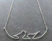 Birds on Wire Necklace - Birds on a Branch Necklace, Bird Necklace, Lovebird Necklace