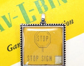 Stop Sign Auto Car Bingo Pendant Necklace Vintage 1950s Traffic Sign Image Key Ring