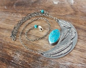 Blue Gem Turquoise, Sleeping Beauty Turquoise, Sterling Silver, Feather, Crescent Moon, Pendant Necklace... Queens & Warriors...