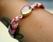 L.A. Raised-Holly-Moonstone Sterling silver & Jade pink chevron Friendship bracelet