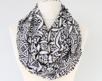 Black and white infinity scarf damask print scarf black tube scarf boho accessories summer scarves for women fashion scarves gift for her