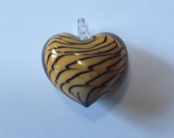 Chocolate Butterscotch Heart - Blown Glass Pendant