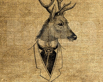 INSTANT DOWNLOAD - Funny Deer Head in a Vintage Jacket - Download and Print - Image Transfer - Digital Sheet by Room29 Sheet no. 1237