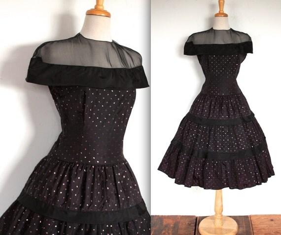 Dress 50s black taffeta and velvet glitter polka dot cocktail party