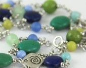 OUT OF TOWN - Ocean Adventure - Colorful Navy Blue Teal Jade Periwinkle Mint Aqua Olive Green Silver Metal Spiral Beaded Stone Long Necklace