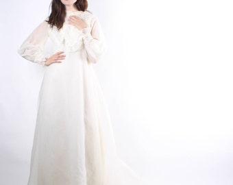 1960s  Wedding Dress with Train - 60s Long Wedding Dresses -  Lace Sheer Wedding Dress - The Petra Dress - 6133