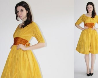 D - Harry Kesier Dress -  50s Mustard Party Dress - The  Dijon Dress - 8047