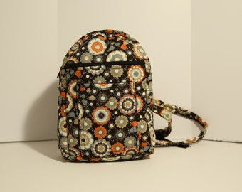 "Quilted Backpack 11"" x 7"" (small) purse in gray, orange, and brown"