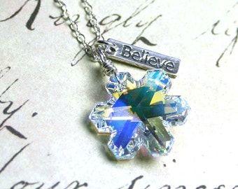 Snowflake Necklace - Believe in the Spirit of Christmas - Swarovski Crystal and All Sterling Silver