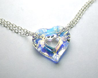 Heart in Chains - Swarovski Crystal Miss U Heart Necklace in Crystal AB- All Sterling Silver