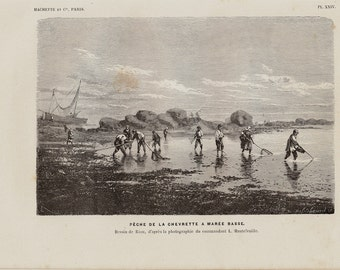 1880 Antique FISHING print, seascape, Shrimp fishing at low tide. Fishermen