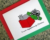 I want a hippopotamus for christmas cute holiday cards (blank/custom printed) with red or green envelopes - set of 10