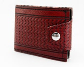 Vintage GMC Mens Billfold Wallet With Change Pouch - Dark Red Oxblood Car Seat Vinyl- Limited Edition