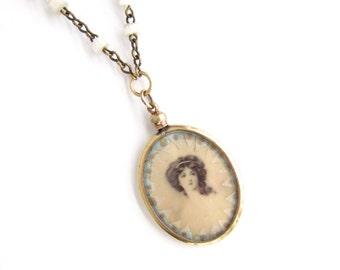 Portrait of a Lady — antique gold-filled frame pendant necklace