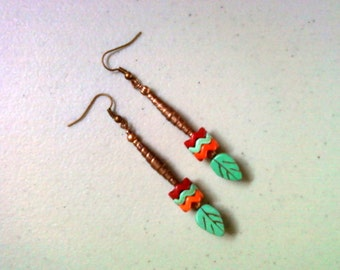 Turquoise, Orange, Red and Copper Dangle Earrings (1393)