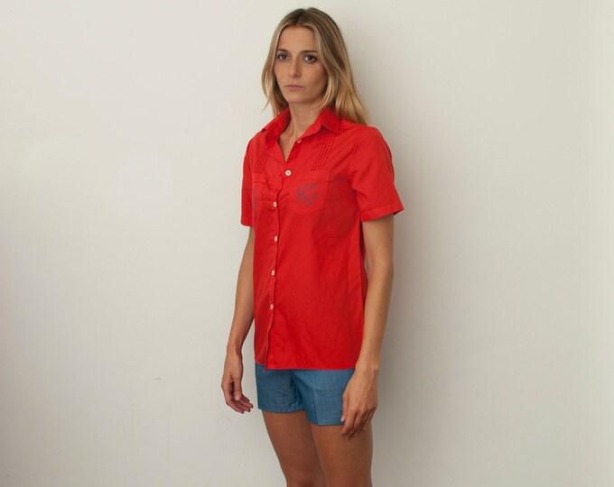 Red blouse floral print short sleeves NOS Vintage